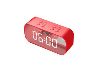 BT501 Wireless bluetooth 5.0 Speaker Dual Alarm Clock LED Display Stereo TF Card Mic Speaker RED COLOR