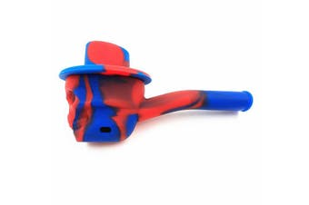 3PCS Silicone Smoking Water Pipe Skull Head Shape Mini Pipes Weed Hand REDBLUE COLOR