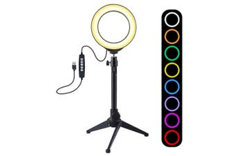 PKT3049B 12CM 3.6 Inch RGBW 8 Color Dimmable LED Video Ring Light with Tripod Stand
