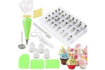 62pcs Cream DIY Icing Piping Tips Pastry Bags+Nozzle Decorating Baking Tool Mold