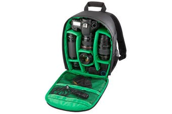 Waterproof Backpack Rucksack Case Bag for DSLR Caerma GREEN-BLACK
