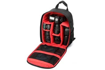 Waterproof Backpack Rucksack Case Bag for DSLR Caerma RED-BLACK