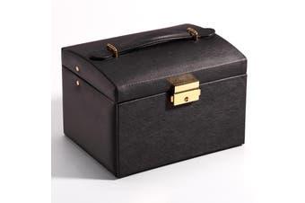 Jewelry Box with Drawer Handle Mirror PU Leather 3 Layer Storage Case Organizer