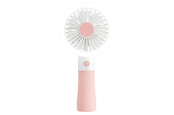 D10-1 Portable Mini USB Fan LED light Fan Handheld Rechargeable Air Cooler Silent Cooling Fan For Home Office Student Dormitory Outdoors Travelling PINK