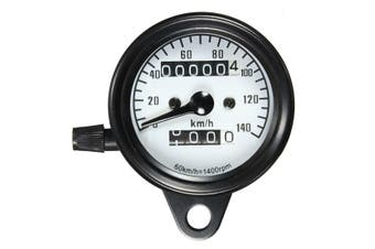 Motorcycle Dual Odometer Speedometer Mechanical Gauge White Universal Waterproof