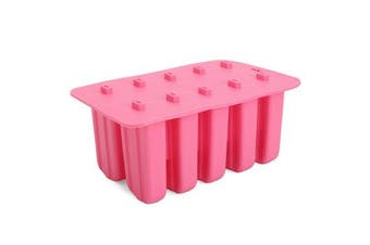 10-Cavity Frozen Ice Cream Pop Mold Maker Lolly Silicone Mould Tray Pan Kitchen DIY Stick