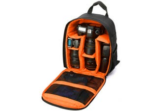 DSLR Camera Lens Storage Backpack Water-resistant Case Bag with Padded Bag ORANGE