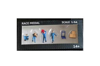 RM 1:64 Scale Figures Diorama To Move The Box Freight Courier Stevedore Model BLUE COLOR