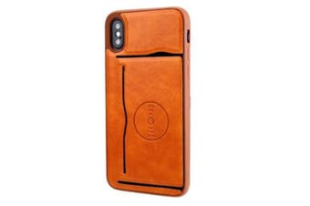 For   iPhone X Retro Crazy Horse Texture PU Leather Case with Holder & Card Slots & Hidden Back Sheet Iron (Brown)