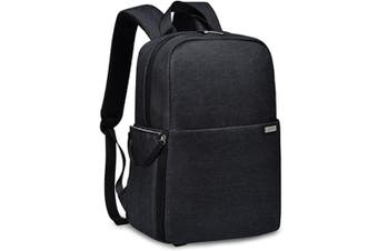 L4 Double-layer Casual Business Computer Backpack USB Multi-function Digital Camera Bag(Black)
