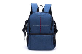 Multi-functional Waterproof Nylon Shoulder Backpack Padded Shockproof Camera Case Bag for Nikon Canon DSLR Cameras(Blue)
