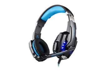 G9000 3.5mm Game Gaming Headphone Headset Earphone Headband with Microphone LED Light for Laptop / Tablet / Mobile Phones(Blue + Black)