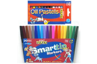 12pc Texta Oil Pastels Crayons & 20pc Smart Tip Kids Colouring Washable Marker