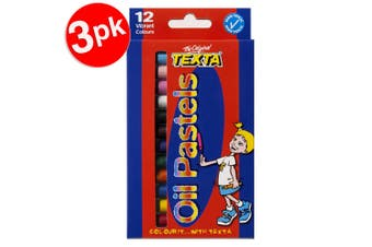 3x12pc Texta Assorted Colour Non Toxic Oil Pastels Kids School/Art/Colouring 5y+