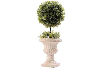 French Potted Artificial Faux Stemmed Topiary Ball 45cm Plant Home Decor Green
