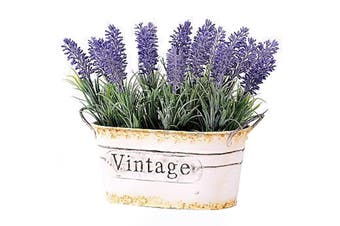 Faux Artificial Lavender in Tin Pot Decoration 25cm Flower/Plant Home Decor PP