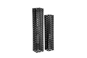 2pc Nested Contemporary 90cm/75cm Floor Pillar Metal Candle Holders Decor Black