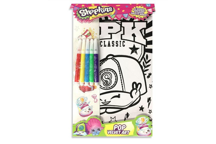 Shopkins Pop Velvet Art Kids Craft Kit Colouring Sheet w/Markers/Stickers 5y+