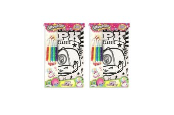 2x Shopkins Pop Velvet Art Kids Craft Kit Colouring Sheet w/Markers/Stickers 5y+