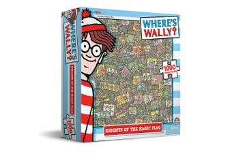 1000pc Where's Wally 69x51cm Jigsaw Puzzle Kids 8y+ Game Knights Of Magic Flag