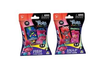 2x 36pc Trolls Snap/Fish Playing Deck Card Educational Games/Toys Children 3y+