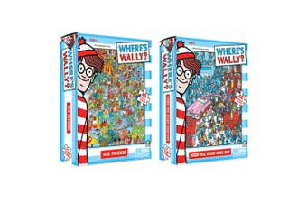 2x 48pc Where's Wally Jigsaw Puzzle 3y+ Toy Old Friends/When The Stars Come Out