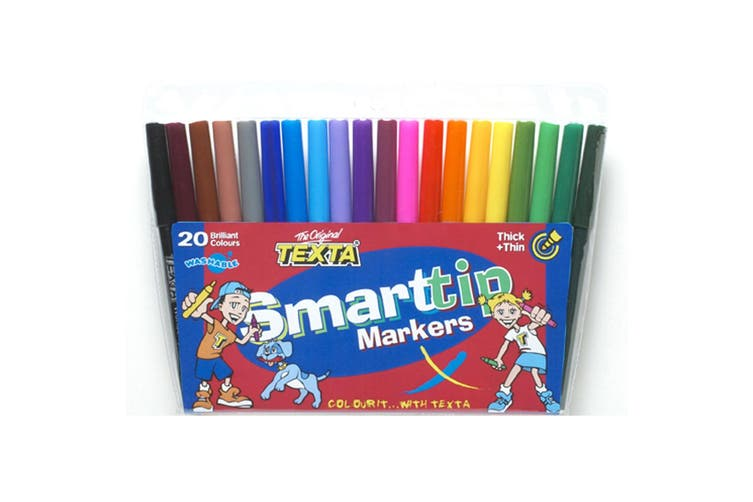 3x 20pc Texta Smart Tip Kids Colouring/Drawing Washable Marker Asst Colours 5y+