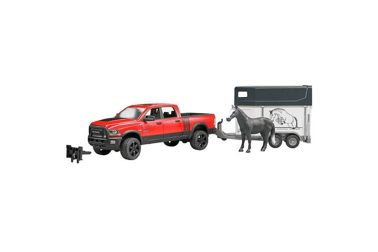 Bruder 1:16 RAM 2500 Power Wagon w/ 1pc Horse/Trailer Toy Vehicle Kids 4y+ Red