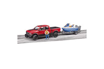Bruder 67.5cm 1:16 Ute RAM 2500 Power Wagon Kids Toy w/Trailer/Rider Water 4y+