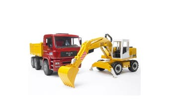Bruder 1:16 Man TGA Construction Truck Vehicle w Liebherr Excavator Kids Toy 3y+