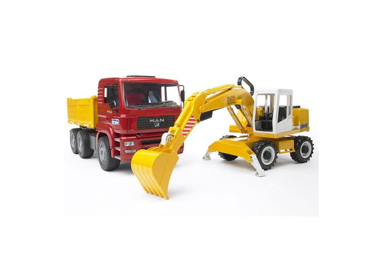 Bruder 1:16 Man TGA Construction Truck Vehicle w Liebherr Excavator Kids Toy 3y+