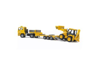 Bruder 1:16 Man TGA Low Loader Truck w/ JCB 4CX Backhoe Loader Tractor Kids Toy