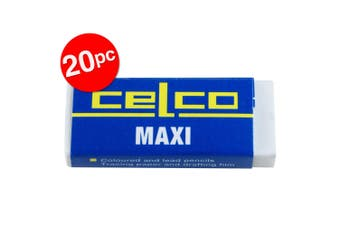 20pc Celco Maxi Eraser School/Office Latex Free for Coloured & Lead Pencils WHT