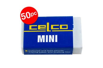 50PK Celco Mini Eraser School/Office Latex Free for Coloured & Lead Pencils WHT
