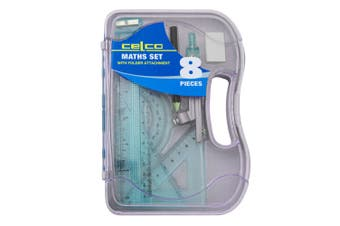 8pc Celco Maths Flash Angles/Ruler Geometry/Drawing Set w/ Folder Attachment BL