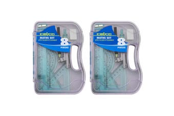 2x 8pc Celco Maths Flash Angles/Ruler Geometry/Draw Set w/ Folder Attachment BL