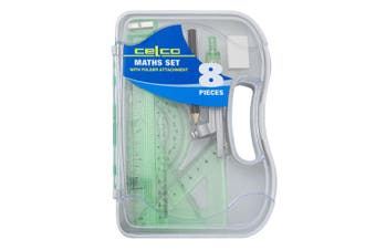 8pc Celco Maths Flash Angles/Ruler Geometry/Drawing Set w/ Folder Attachment GRN