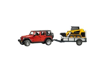 Bruder 1:16 Jeep Wrangler Rubicon w Trailer/CAT Skid Steer Kids Construction Toy