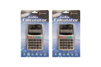 2PK Jastek Home/Office 8 Digit Pocket Calculator LG Display/Solar/Battery Power