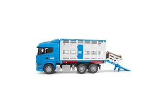 Bruder 1:16 Scania R-Series 52cm Cattle Animal Transport Truck Kids Toy w/Cow 4+