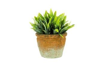 Potted Artificial Faux Plastic 16cm Grass Plant Home/Garden Decor w/ Pot Green