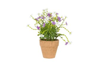 Potted Artificial Faux 22cm Lilac Field Flower/Plant Home/Garden Decor Green
