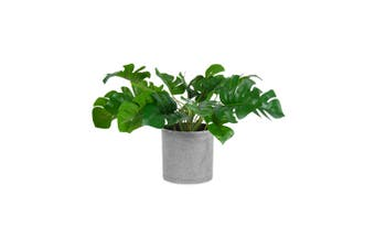 Artificial 34cm Split-Leaf Philodendron Faux Plastic Plant in Grey Pot Decor GRN