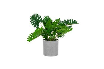 Artificial 34cm Monstera Faux Plastic Plant in Grey Pot Home Room Decor Green