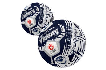2x Summit Size 5 A-League Melbourne Victory Stitched 30 Panel Soccerball Soccer
