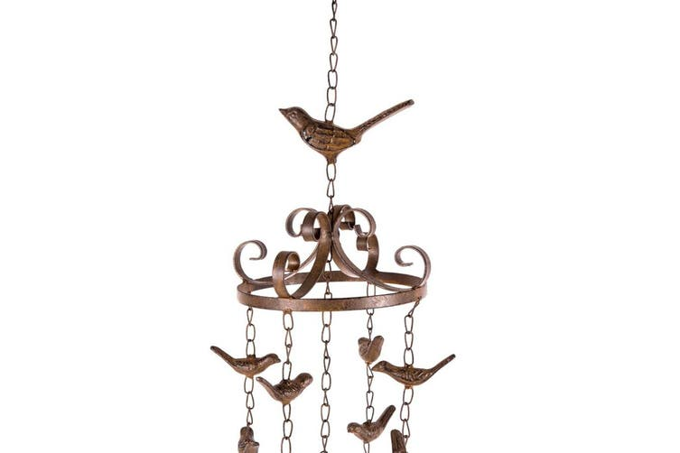 Rust Metal Birds Hanging Bell/Wind Chime Decoration 15x83cm Home Decor Brown