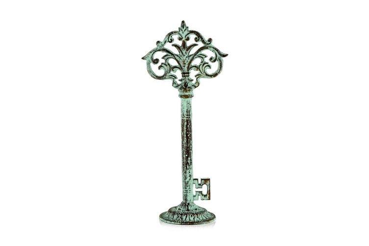 Fleur Iron 38cm Key Sculpture Standing Home/Room Desk/Table Decor Antique Blue