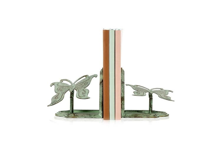 2pc Iron Butterfly 13cm Bookend Stand Holder Set Stationery Decor Antique GRN