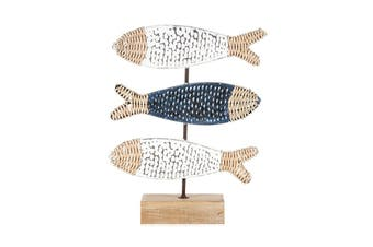 Hamptons-Style 44cm Wood Three Fish on a Base Sculpture Home Decor White/Blue