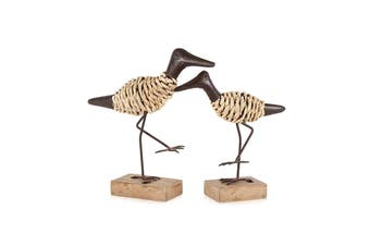 2pc Contemporary Wood 29cm/24cm Birds Sculpture on Base Home Decor Assorted BR